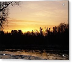 Acrylic Print featuring the photograph Mississippi River Orange Sky by Kent Lorentzen