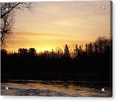 Mississippi River Orange Sky Acrylic Print by Kent Lorentzen