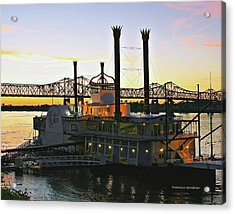 Mississippi Riverboat Sunset Acrylic Print