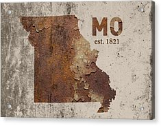 Missouri State Map Industrial Rusted Metal On Cement Wall With Founding Date Series 033 Acrylic Print by Design Turnpike