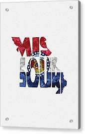 Missouri Typographic Map Flag Acrylic Print