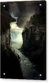 Mist And The Falls Acrylic Print by Emily Stauring