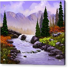 Acrylic Print featuring the painting Mist In The Mountains by Sena Wilson