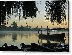 Mist Lake Silhouette Acrylic Print