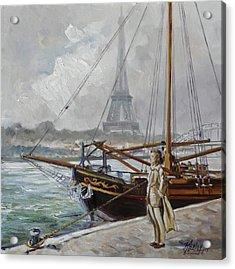 Mist On The Seine, Paris Acrylic Print