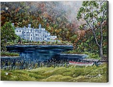 Mist Over Kylemore Abbey Acrylic Print by Avril Brand