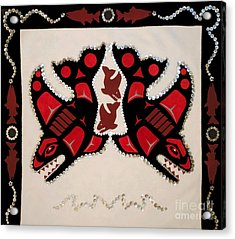 Acrylic Print featuring the tapestry - textile Mistamekwakii  - Whales - Northern Cree by Chholing Taha