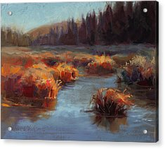 Acrylic Print featuring the painting Misty Autumn Meadow With Creek And Grass - Landscape Painting From Alaska by Karen Whitworth