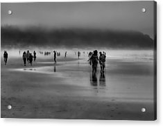 Misty Beach Acrylic Print by David Patterson
