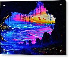 Misty Cave Sunset Acrylic Print by Joseph   Ruff