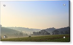 Misty Dawn Over The Cornish Countryside Acrylic Print