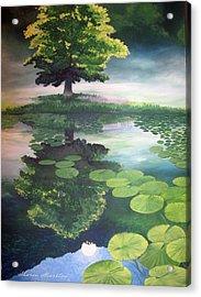 Misty Dawn Acrylic Print by Sharon Marcella Marston