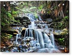 Misty Falls Acrylic Print by Az Jackson