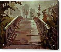 Acrylic Print featuring the painting Misty Footbridge by Tim  Heimdal
