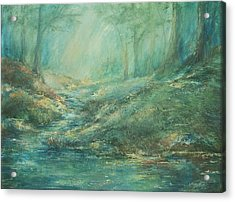 The Misty Forest Stream Acrylic Print by Mary Wolf