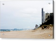 Misty Gold Coast Beach Acrylic Print by Susan Vineyard