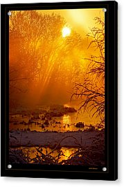 Misty Kentucky Sunrise Acrylic Print by Keith Bridgman