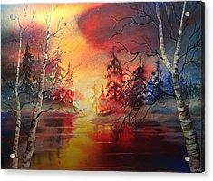 Misty Lake Acrylic Print by Marilyn Jacobson