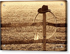 Misty Morning At The Ranch Acrylic Print by American West Legend By Olivier Le Queinec