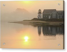 Misty Morning Hyannis Harbor Lighthouse Acrylic Print by Roupen  Baker