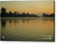 Misty Morning Lake Acrylic Print