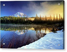 Acrylic Print featuring the photograph Misty Morning Lake by William Lee