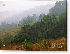 Misty Morning On The Farm Acrylic Print by Thomas R Fletcher