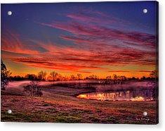 Misty Morning Other Worldly Sunrise Acrylic Print by Reid Callaway