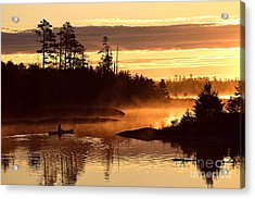 Acrylic Print featuring the photograph Misty Morning Paddle by Larry Ricker