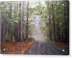 Acrylic Print featuring the painting Misty Morning Road by Ken Ahlering