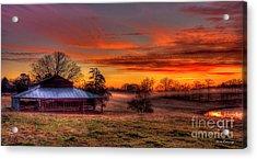 Misty Morning Sunrise Walker Church Road Acrylic Print by Reid Callaway