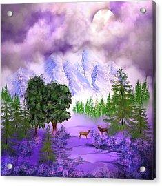 Misty Mountain Deer Acrylic Print
