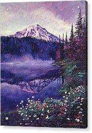Misty Mountain Lake Acrylic Print by David Lloyd Glover