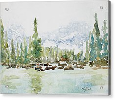 Misty Mountain Lake Acrylic Print by Mary Benke