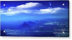 Misty Mountains Of San Salvador Panorama Acrylic Print by Al Bourassa