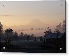 Misty Mt. Rainier Sunrise Acrylic Print by Shirley Heyn