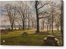 Misty November Picnic Grove Acrylic Print