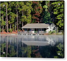Acrylic Print featuring the photograph Misty Reflection At Durant by George Randy Bass