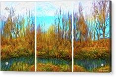 Misty River Vistas - Triptych Acrylic Print
