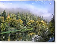 Misty Russian River Acrylic Print by Peter Dyke