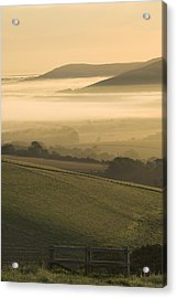 Misty South Downs Acrylic Print by Hazy Apple
