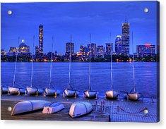 Mit Sailing Pavilion And The Boston Skyline At Night Acrylic Print