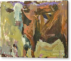 Acrylic Print featuring the painting Mixed Media Cow Painting by Robert Joyner