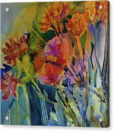 Mixed Media Flowers Acrylic Print by Donna Acheson-Juillet