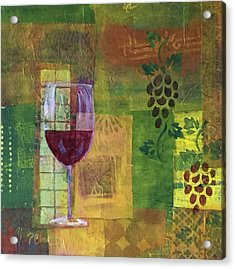Mixed Media Painting Wine Acrylic Print by Patricia Cleasby
