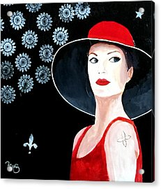 Mixed Media Painting Woman Red Hat Acrylic Print by Patricia Cleasby
