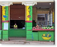 Acrylic Print featuring the photograph Mjay Fruit Stand Havana Cuba by Charles Harden