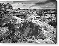 Moab Maiden Petroglyph - Black And White - Utah Acrylic Print