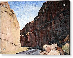 Acrylic Print featuring the painting Moab Train Tracks by Jane Autry