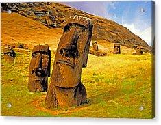 Moai Acrylic Print by Dennis Cox